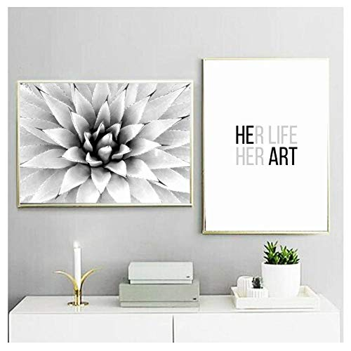 dayanzai Wall Art Canvas Painting Aloe Quotes Black White Nordic Posters and Prints Wall Pictures for Living Room Salon Pop Art Decor 50X70Cmx2Pcs Kein Rahmen