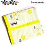 TuddyBuddy: Bedding Sheet Cum Top Sheets for Baby | Crib Sheet | Baby Bed Sheet | Ideal for 0-6 months baby. Swaddle Blanket, AC Blanket, New Born Baby Carry Bag, Baby Wrapper, Quick Dry Swaddle Wrap. 100% Cotton | 130X120 Cms (Wat a Sunny Day)