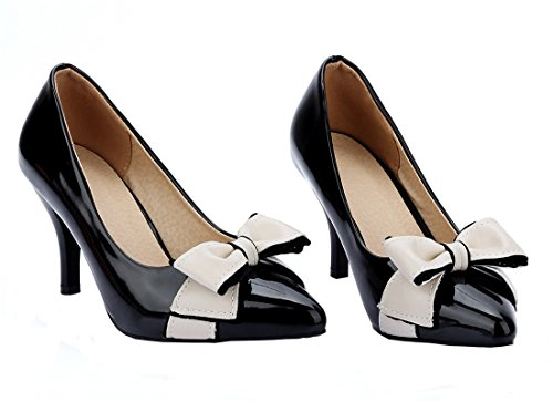 YE Damen High Heels Spitz Stiletto 7cm Kitten Heel Elegante Office Pumps Mit Schleife Schuhe Schwarz
