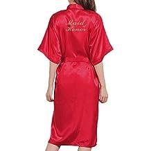 Mxssi Mujer SPA Kimono Albornoz Bata Carta Dama de Honor Bata de Dama de Honor Batas