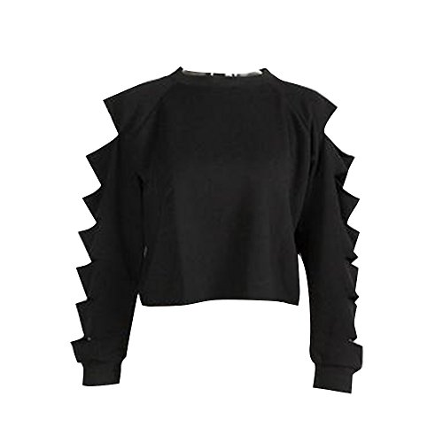 Shujin Damen Mode Straße Schulterfrei Pullover Distressed Cropped Top Kurz Sweatershirt cut out Hohle Loch Langarmshirt Bauchfrei Hoodie Crop Jumper Rundhals Oberteile (Mini Jean Distressed)