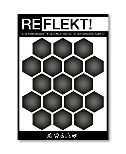 REFLEKT! Waben Schwarz (Design und Farbe wählbar) Reflektoren Aufkleber/Sticker – selbstklebend reflektierend Sicherheitsaufkleber für Fahrrad, Kinderwagen, Buggy, Helm, Fahrradhelm