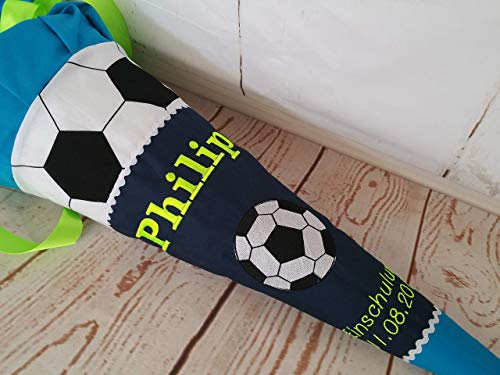 #227 Schultüte Fussball Fussballer Kicker Zuckertüte Schultüte Stoff + Papprohling + als Kissen verwendbar