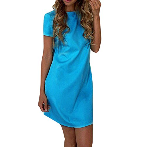Yumimi88 Damen Solid Bodycon Kurzarm Kleid Evening Party Abend Dress Mini Kleid (L, (Jahren Dekoration 1950er Halloween)