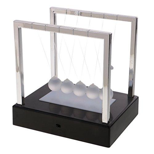 Baoblaze Newtonpendel Kugelstosspendel Balance Ball Kugelspiel mit Lichter Dekoration - schwarz