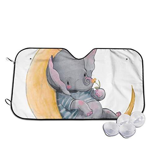 Rterss - Parasol para parabrisas delantero con diseño de elefante sentado en la luna para evitar que el coche se caliente en el interior