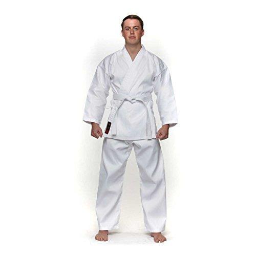 Vader Sports Adulto Traje De Karate blanco Uniforme Poliéster/Algodón Gi inc cinturón gratis M/W Preencogido, kárate blanco kimono, blanco karate Gi, Karate kata Suit