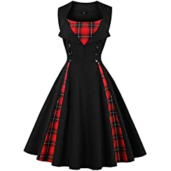VERNASSA 50s Vintage, Mujeres 1950s Vintage A-Line Rockabilly Clásico Verano Dress for Evening Party Cocktail, S-Plus
