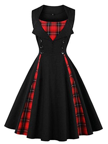 VERNASSA 50s Retro Kleider, Damen Vintage 1950er A-line Baumwoll Swing Kleid für Rockabilly Evening Party Cocktail, Mehrfarbig, S-Plus Größe 4XL (Größe Rock Plus Baumwolle)