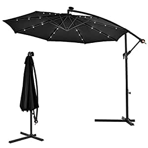 Costway 3m Outdoor Led Parasol Patio Solar Sun Shade