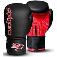 Starpro Guantes de Boxeo Muay Thai - Ideales para Kickboxing Entrenamiento Training Sparring Grappling | Cuero Sintético Hombres y Mujeres | 8oz 10oz 12oz 14oz 16oz | Negro Rojo