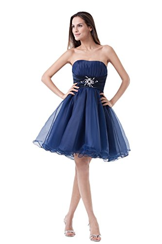 Bridal _ Mall Balle Gown Cocktail robe courte strass perles organza Prom Party Vêtements Bleu - Koenigsblau