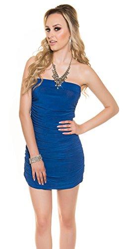 Mini robe sexy à nouer dans le cou avec strass koucla by in-stylefashion sKU mIEL64 Bleu - Bleu