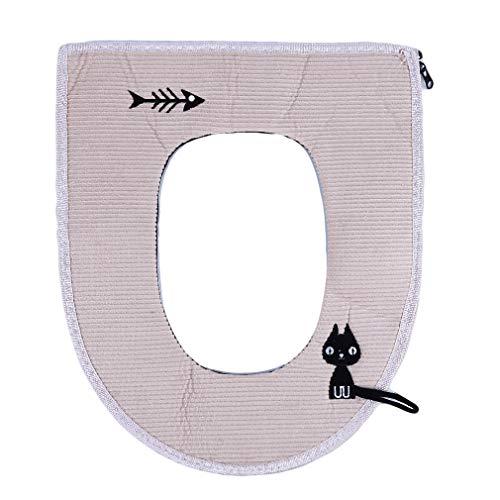WEIHEEE Weihee Toilettensitzbezüge, waschbar, wärmer, mit flexiblem Schlauch für Verriegelung von WC-Sitzen - beige