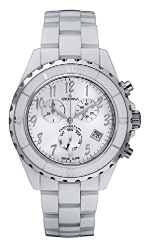 GROVANA-40019183-Unisex-Quartz-Swiss-Watch-with-White-Dial-Analogue-Display-and-White-Ceramic-Bracelet