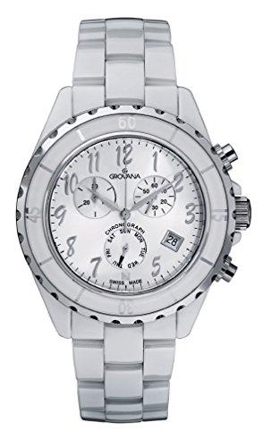GROVANA-40019183-Unisex-Quartz-Swiss-Watch-with-White-Dial-Analogue-Display-and-White-Ceramic-Bracelet