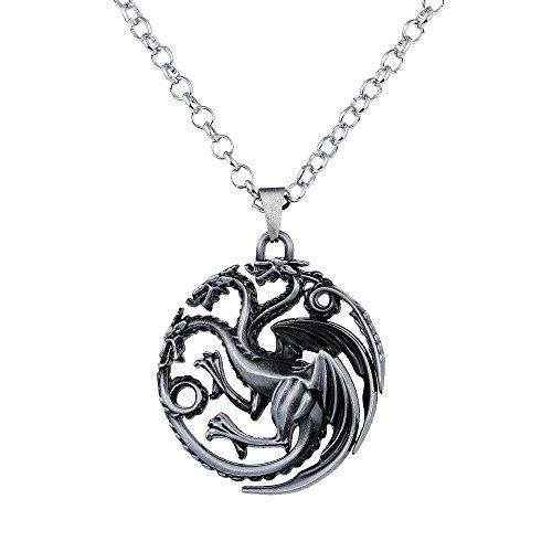 Lureme Spiel der Throne inspiriert Targaryen Anhänger Kostüm Halskette-Antique Silber (nl005382-2) (60's Inspiriert Halloween Kostüme)