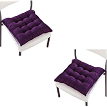 DAYNECETY 2Pcs Chair Seat Pads Cushion Car Dinning Room Garden Kitchen Seats Protector Tie On Cushion Pad (Dark Purple)