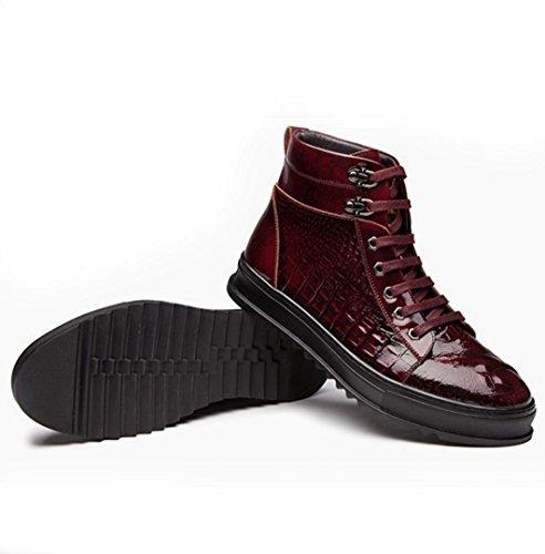 Die neuen High-Top Schuhe Krokodilmännchen geprägten Runde Sport- und Freizeitschuhe flache Spitze Schuhe wine red