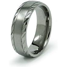 Personale incidendo in acciaio inox scanalato Anello Banda anello - Scanalato Banda Anello
