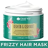 Nuray Naturals Vegan Keratin Hair Mask with Geranium for Frizzy Hair and Growth
