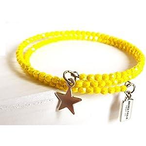Armband gewickelt zierlich, filigran 3mm Glasperlen Gelb auf Memorywire mit Anhänger Stern