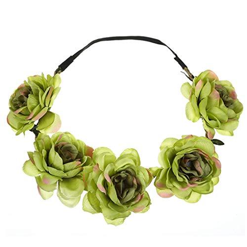 Die Baby-band (Dorical Stirnband Blumen, 1 Stück Stirnbänder Krone Haarband Kopfband Blume Haarbänder mit Elastischem Band für Hochzeit und Party Haarbänder Band für Frauen Mädchen (One Size, Z05-Grün))