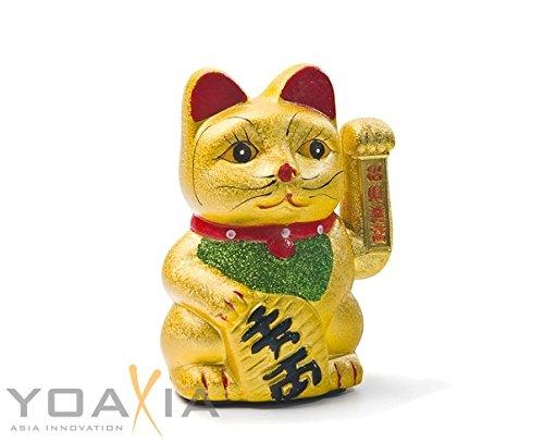 Keramik, gatto portafortuna Maneki Neko, 17 cm, gatto che saluta, colore oro, portafortuna Feng Shui