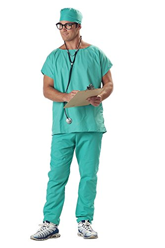 GGTBOUTIQUE Erwachsener Chirurg Kostüm Scrubs Arzt Krankenhaus Uniform Herren Abendkleid One Size (Medium)