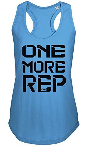 GO HEAVY Ärmelloses Damen Yoga Sporttop   Frauen Fitnessoberteil Trainings Gym Tank Top   Print One More Rep   Blau M -
