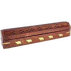 regalos del dia de padre, Incienso titular palillo de madera hechos a mano caja de almacenamiento con el ata?d del quemador elefante adorno de lat?n embutido