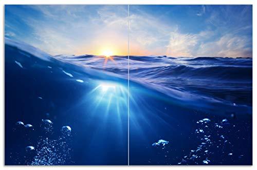 Wallario Herdabdeckplatte/Spritzschutz aus Glas, 2-teilig, 80x52cm, für Ceran- und Induktionsherde, Motiv Wellen im Meer bei Sonnenuntergang