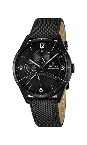 Festina Men's Quartz Watch with Black Dial Analogue Display and Black Leather Strap F16849/3