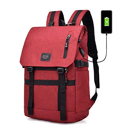 WMA-Intelligent Männer Rucksack Hohe Kapazität Reise Falten USB-Schnittstelle Aufladen Bluetooth-Diebstahlsicherung Damentaschen,Red