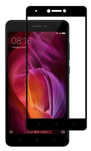 Mobile World Full Coverage Black Tempered Glass Screen Protector For Redmi Mi Note 4 - Redmi Mi Note 4 Full Glass