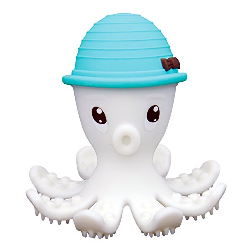 Preisvergleich Produktbild Mombelle® FDA-Certified Soft Silicone Gum Brush BPA Free Baby Teether Toy - Octopus Doo, 3M+, 4 Colors … (Blau)
