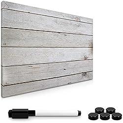 Navaris Tableau mémo magnétique Gris - Ardoise Pense-bête aimanté - Décoration Salon Cuisine Bureau - Motif Planches de Bois - 60x40 cm
