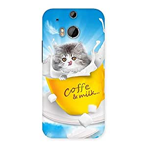Delighted Coffee Kitty Back Case Cover for HTC One M8