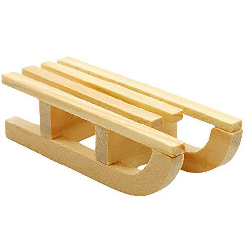 alles-meine.de GmbH 5 Stück _ kleine XS - Deko -  Schlitten  - aus Natur Holz - 5,5 cm - Miniatur / Diorama - Weihnachtsdeko / Winter - Winterurlaub - Holzschlitten Mini - Kind.. - Kinder Für Kleine Schlitten