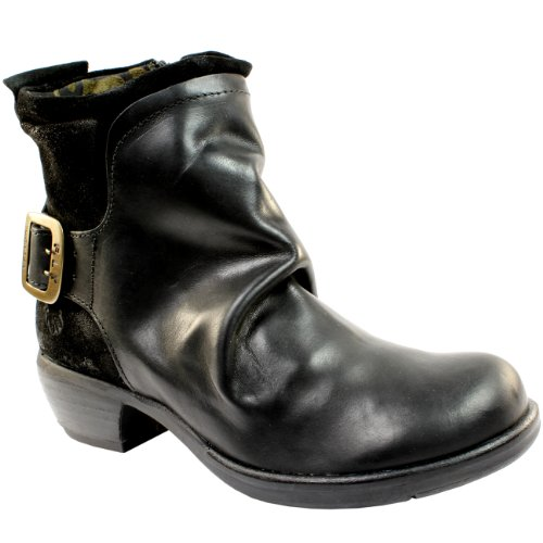 Donna Fly London Mel singolo fibbia in pelle Biker Boots Nero
