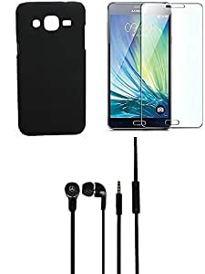 NIROSHA Tempered Glass Screen Guard Cover Case Headphone for Samsung Galaxy ON7 - Combo