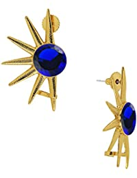 Spargz Gold Plated Blue Diamond Spikes Earring For Women AIER 917