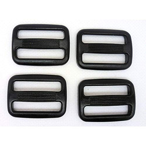 25 adjustable black plastic buckles with 3 backpack bars, tactical bags 38 mm black