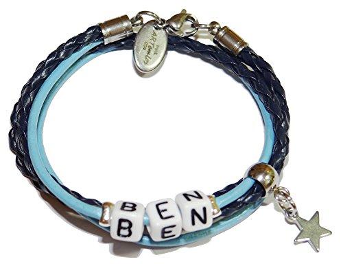 ARTemlos® Handmade Kinder-Armband mit Name aus Edelstahl und Leder (023)