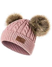 7e247b06db4cf QUICKLYLY Gorro Bebé de Lana Tejido Invierno Grueso Sombrero para Niños Y  Niñas Bufanda Conjunto Slouchy
