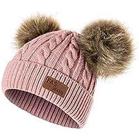 QUICKLYLY Gorro Bebé de Lana Tejido Invierno Grueso Sombrero para Niños Y Niñas Bufanda Conjunto Slouchy