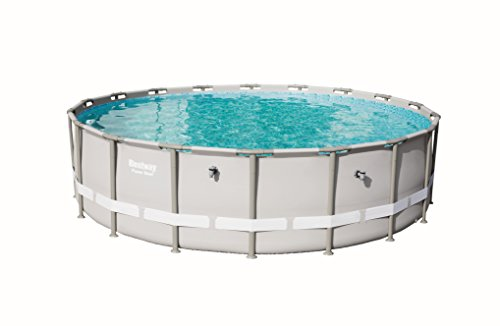 Bestway Power Steel Frame-Pool, 549 x 549 x 132 cm, rund, grau, 26.000 Liter, ohne Pumpe und Zubehör, Ersatzpool, Ersatzteil