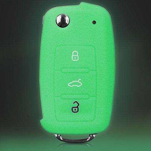 kwmobile VW Skoda Seat Cover chiave auto Guscio protettivo fluo per chiave VW Skoda Seat con 3 tasti Protezione per chiavi Custodia coprichiave fluorescente silicone TPU