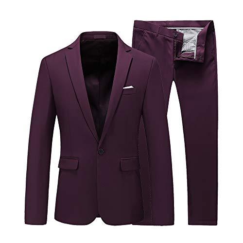UNINUKOO Herren Slim Fit 2-teilige Einreihige Jacke Party Prom Smoking Anzüge - Rot - Brust 31W/Taille 29