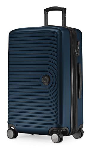 HAUPTSTADTKOFFER - Mitte - Valigia rigida di dimensioni medie, bagaglio da imbarcare con estensione di 8 cm per aumentarne il volume, TSA, con 4 ruote gommate doppie, 68 cm, 88 L, Blu scuro